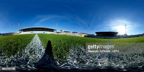A general view of stadium prior to the UEFA Women Champions League Round of 32 second leg match between FC Bayern Muenchen and Chelsea LFC at Stadion...