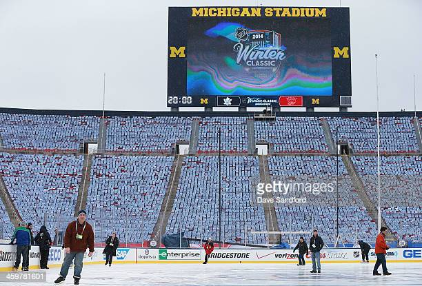 General view of stadium seating and the Michigan Stadium scoreboard is seen during the 2014 Bridgestone NHL Winter Classic Build-out on December 30,...