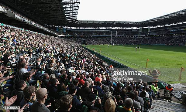 A general view of StadiumMK during the Aviva Premiership match between Northampton Saints and Saracens at StadiumMK on April 25 2015 in Milton Keynes...