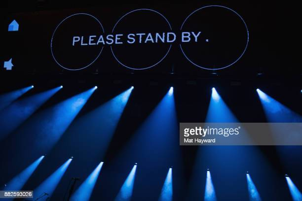 General view of stage sign 'Please Stand By' before the National perfoms at Paramount Theatre on November 29 2017 in Seattle Washington