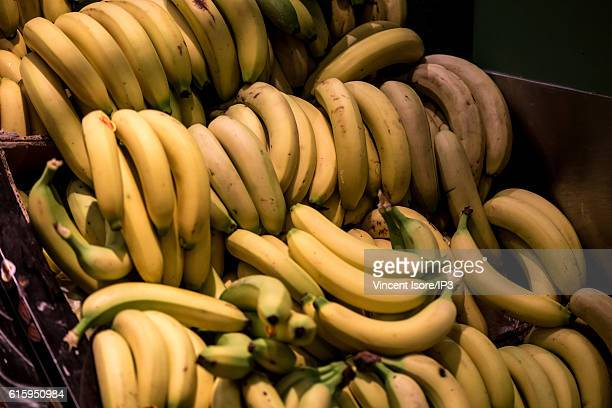 General view of stalls of fresh and organic bananas during the inauguration of a new range of Bio signs by French President of Monoprix Regis Schultz...