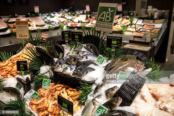 General view of stalls of fresh and organic fish during the inauguration of a new range of Bio signs by French President of Monoprix Regis Schultz at...