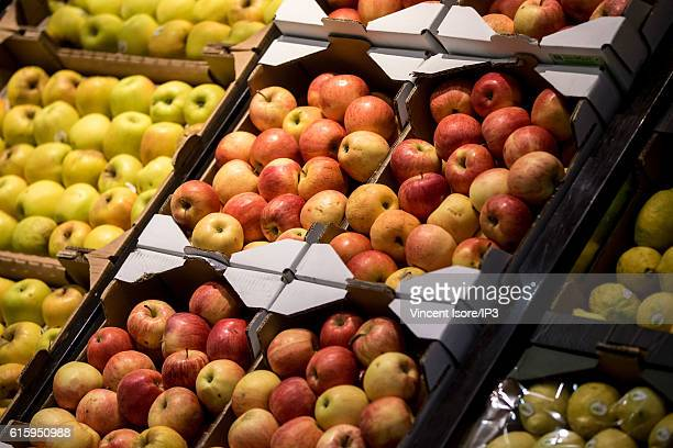 General view of stalls of fresh and organic fruits during the inauguration of a new range of Bio signs by French President of Monoprix Regis Schultz...