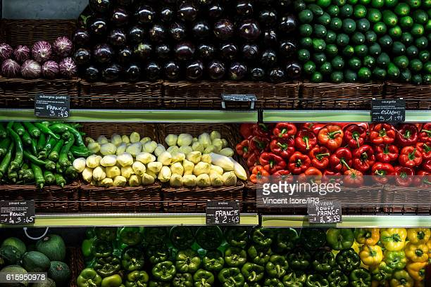 General view of stalls of fresh and organic vegetables during the inauguration of a new range of Bio signs by French President of Monoprix Regis...