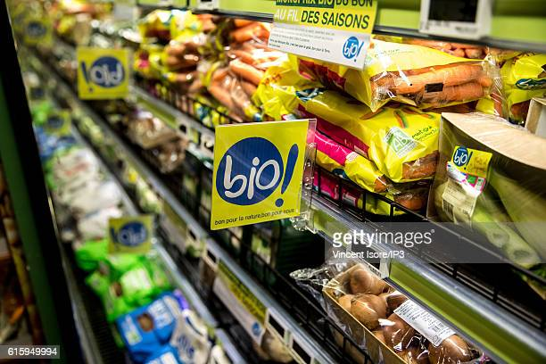 General view of stalls of organic products during the inauguration of a new range of Bio signs by French President of Monoprix Regis Schultz at...