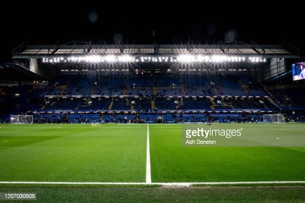 General view of Stamford Bridge ahead of the Premier League match between Chelsea FC and Manchester United at Stamford Bridge on February 17, 2020 in...