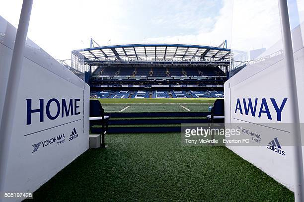 A general view of Stamford Bridge before the Barclays Premier League match between Chelsea and Everton at Stamford Bridge on January 16 2016 in...