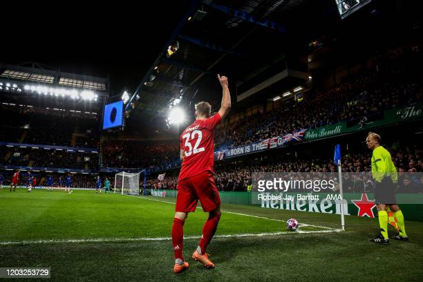 General view of Stamford Bridge, home stadium of Chelsea as Joshua Kimmich of Bayern Munich prepares to take a corner during the UEFA Champions...