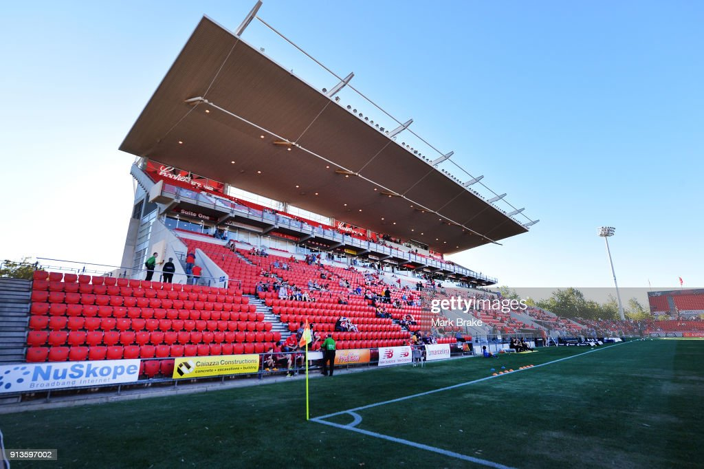General view of stand during the round 19 A-League match between Adelaide United and the Perth Glory at Coopers Stadium on February 3, 2018 in Adelaide, Australia.