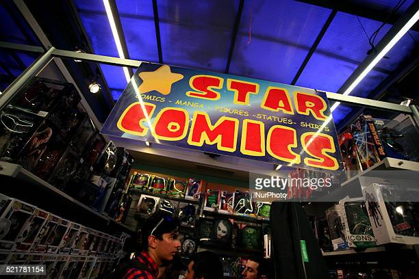 General view of stand for a photo during Comicdom Con Festival a threeday comics festival took place at the Hellenic American Union in Athens on...