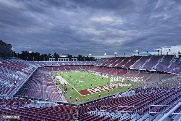 A general view of Stanford Stadium during warmups before a PAC12 football game between the Stanford Cardinal and the UCLA Bruins on October 15 2015...