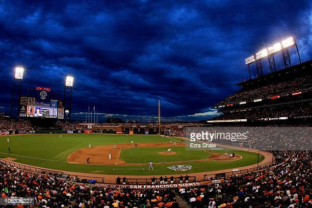 General view of starting pitcher Matt Cain of the San Francisco Giants pitches against the Texas Rangers in Game Two of the 2010 MLB World Series at...