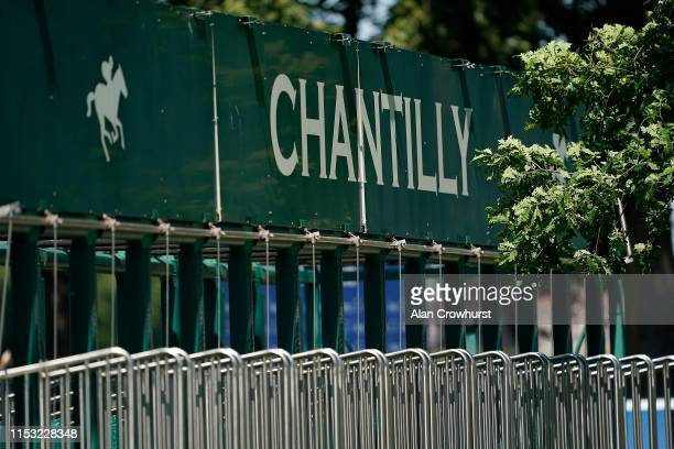 A general view of starting stalls during The Qipco Prix du Jockey Club meeting at Hippodrome de Chantilly on June 02 2019 in Chantilly France
