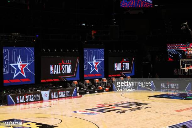 General view of State Farm Arena during NBA All-Star 2021 on March 6, 2021 at State Farm Arena in Atlanta, Georgia. NOTE TO USER: User expressly...