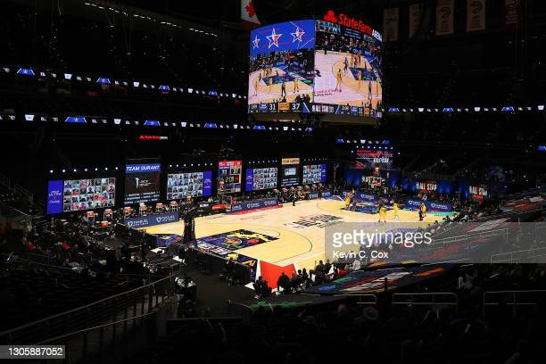 General view of State Farm Arena during the 70th NBA All-Star Game between Team LeBron and Team Durant on March 07, 2021 in Atlanta, Georgia.