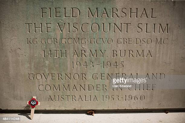 A general view of statue of Field Marshall Slim after Burma Star Veteran Richard De Renzy Channer laid a wreath during the 70th Anniversary...