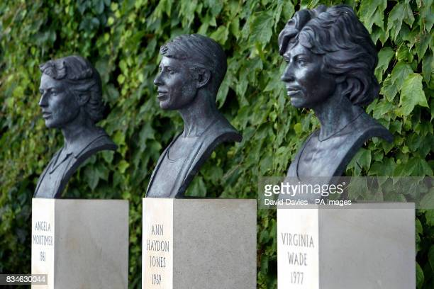 General view of statues of Angela Mortimer Ann Haydon Jones and Virginia Wade at Wimbledon