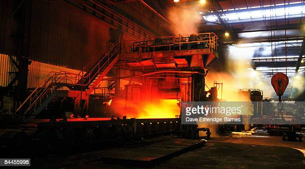 A general view of steel production at Llanwern Steel Works near Newport in Gwent South Wales on October 1 1990 Steel production has been in decline...