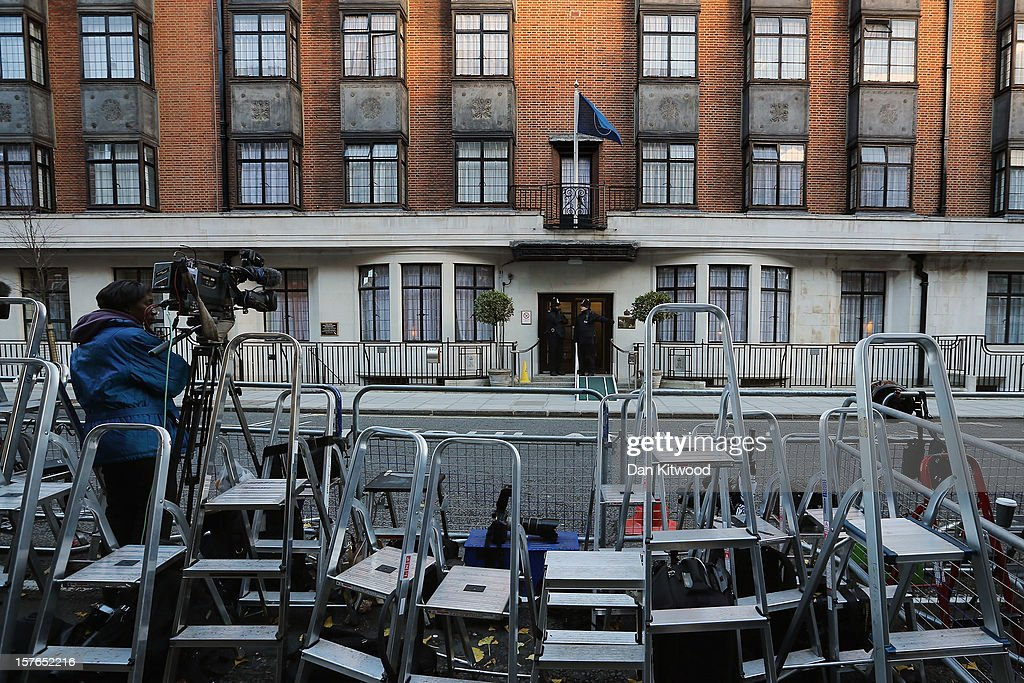 A general view of stepladders belonging to members of the media in front of the King Edward VII Private Hospital on December 4, 2012 in London, England. The Prince's wife Catherine, Duchess of Cambridge is spending a thrird day in the King Edward VII Hospital after the announement of her pregnancy and the fact she was suffering from hyperemesis gravidarum or acute morning sickness.