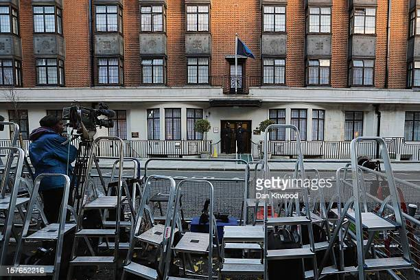 A general view of stepladders belonging to members of the media in front of the King Edward VII Private Hospital on December 4 2012 in London England...