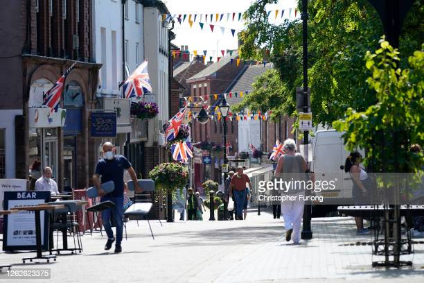 General view of Stone High Street following an increase in cases of the coronavirus disease on July 30, 2020 in Stone, England. The Staffordshire...