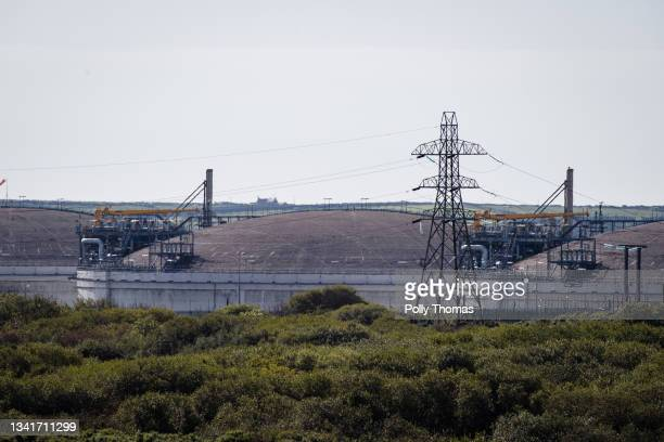 General view of storage tanks at South Hook LNG Terminal Company on September 21, 2021 in Milford Haven, Wales. Rising prices of natural gas in the...