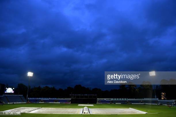General view of storm clouds of Sophie Gardens as the match is abandoned during the Vitality T20 Blast match between Glamorgan and Essex Eagles at...