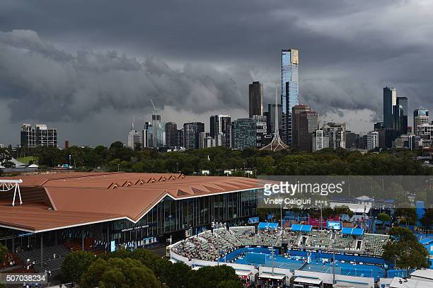 General view of storm clouds over Melbourne during day ten of the 2016 Australian Open at Melbourne Park on January 27 2016 in Melbourne Australia