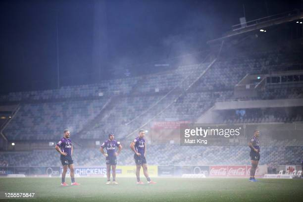 General view of Storm players during the round nine NRL match between the Canberra Raiders and the Melbourne Storm at GIO Stadium on July 11, 2020 in...