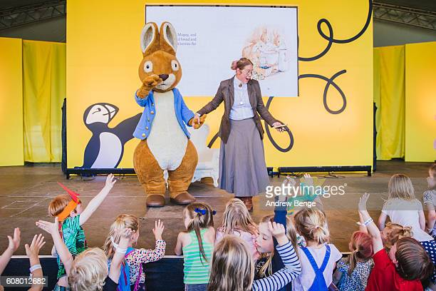 General view of story time with Peter Rabbit and Beatrix Potter at Puffin World Of Stories during OnRoundhay Festival 2016 on September 17 2016 in...