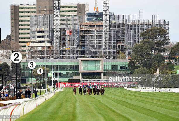 General view of straight race in Race 5 The Danehill Stakes during Melbourne Racing at Flemington Racecourse on September 10 2016 in Melbourne...