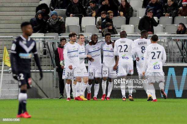 General view of Strasbourg players after the goal of Stephane Bahoken during the Ligue 1 match between FC Girondins de Bordeaux and Strasbourg at...