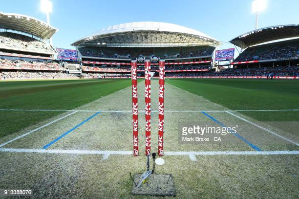 General view of stumps and wicket before the Big Bash League match between the Adelaide Strikers and the Melbourne Renegades at Adelaide Oval on...