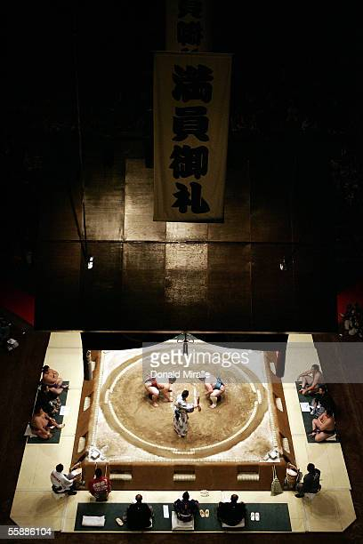 A general view of Sumo wrestlers under the Dohyo during the Grand Sumo Championship on October 9 2005 at Mandalay Bay Events Center in Las Vegas...