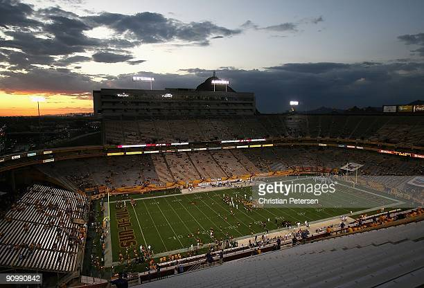 General view of Sun Devil Stadium as the Arizona State Sun Devils and the Louisiana Monroe Warhawks warm up prior to the college football game on...
