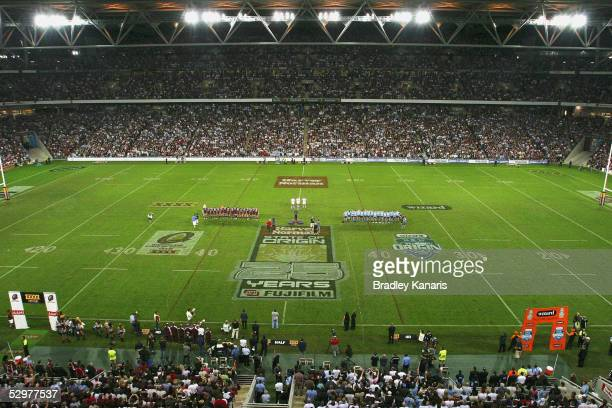 A general view of Suncorp Stadium during game one of the ARL State of Origin series between the Queensland Maroons and the New South Wales Blues at...