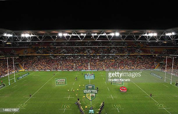 A general view of Suncorp Stadium is seen as the Wallabies players enter the field of play before the international test match between the Australian...