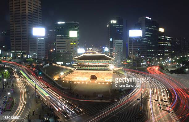 A general view of Sungnyemun Gate on May 4 2013 in Seoul South Korea The ancient gate made up one of four gates that protected Seoul during the...