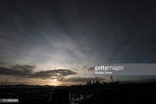 General view of sun-rise over Auckland city on March 26, 2020 in Auckland, New Zealand. New Zealand has gone into lockdown as the government imposes...