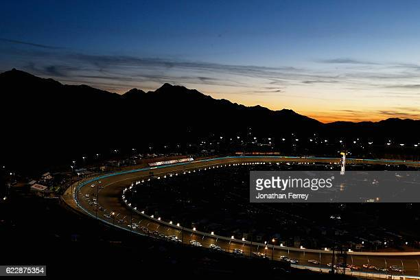 General view of sunset at the raceway as cars race during the NASCAR XFINITY Series Ticket Galaxy 200 at Phoenix International Raceway on November...