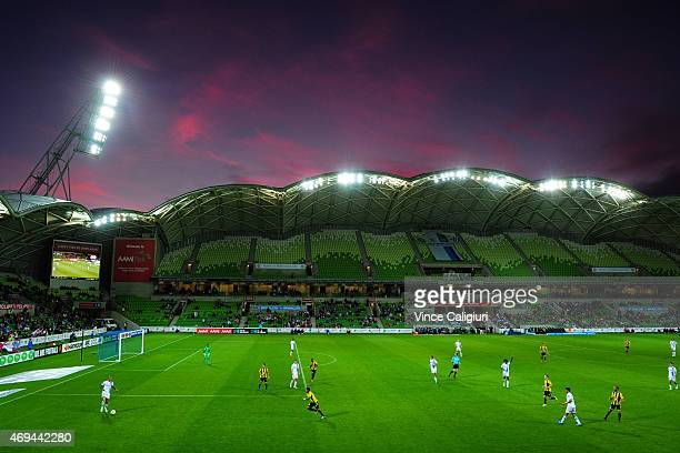 General view of sunset during the round 25 A-League match between the Melbourne Victory and the Wellington Phoenix at AAMI Park on April 12, 2015 in...