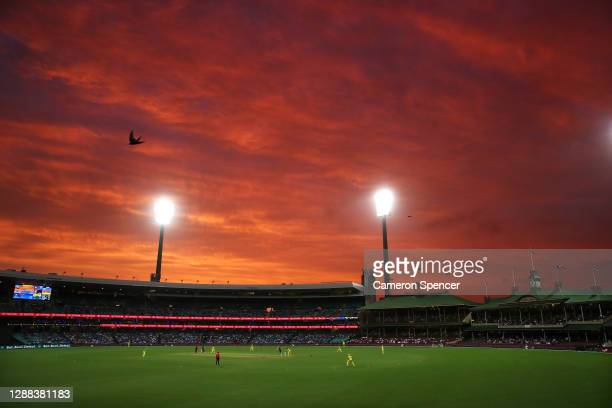 General view of sunset in the second innings during game two of the One Day International series between Australia and India at Sydney Cricket Ground...