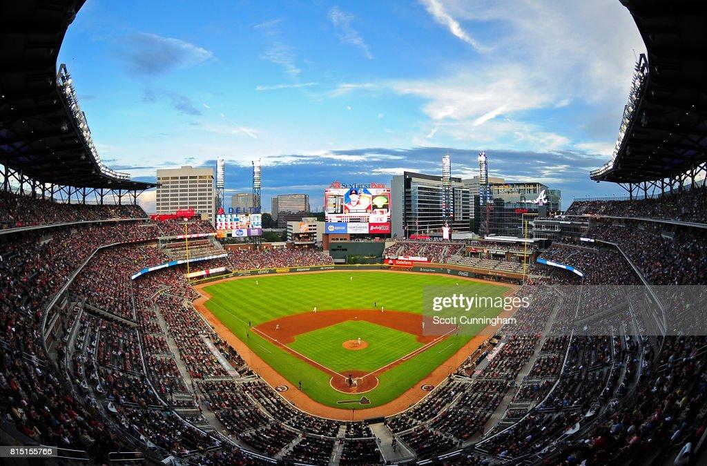A general view of SunTrust Park during the game between the Atlanta Braves and the Arizona Diamondbacks on July 15, 2017 in Atlanta, Georgia.