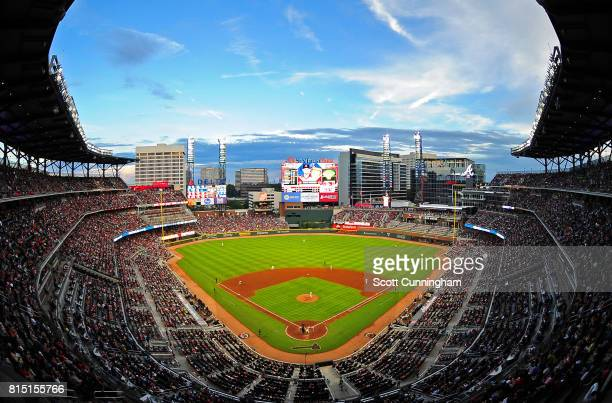 A general view of SunTrust Park during the game between the Atlanta Braves and the Arizona Diamondbacks on July 15 2017 in Atlanta Georgia