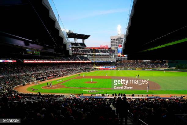 A general view of SunTrust Park during the second inning against the Philadelphia Phillies at SunTrust Park on March 30 2018 in Atlanta Georgia