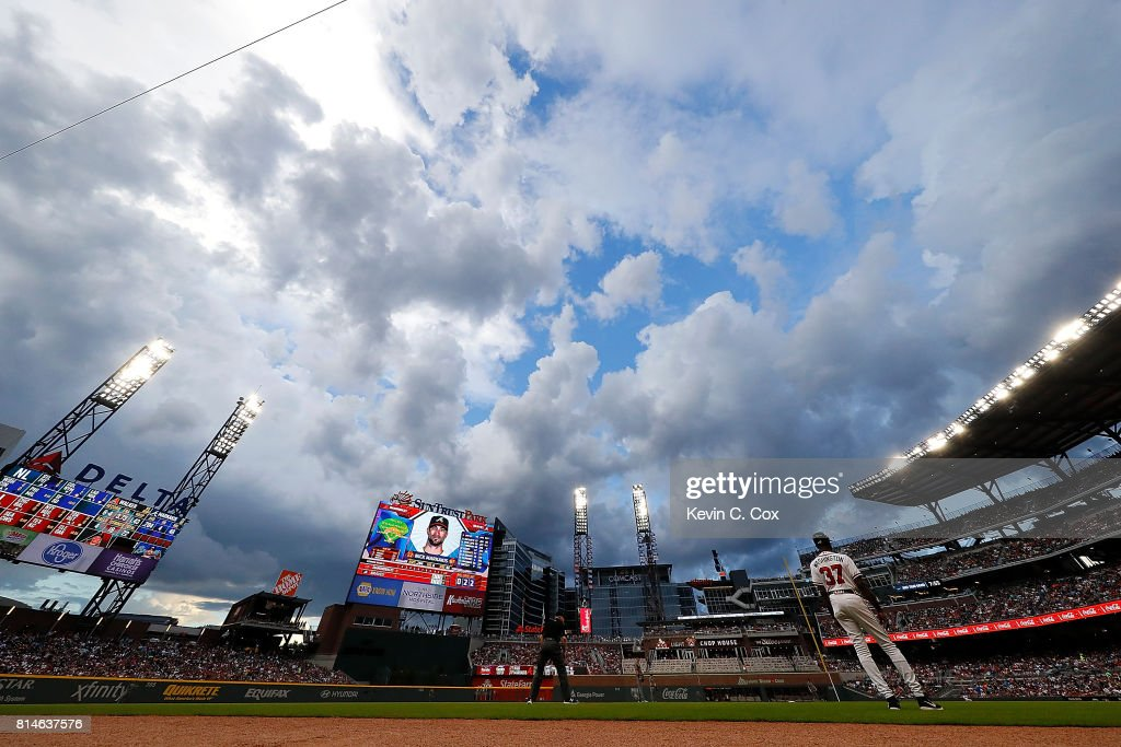 A general view of SunTrust Park in the first inning between the Atlanta Braves and the Arizona Diamondbacks on July 14, 2017 in Atlanta, Georgia.
