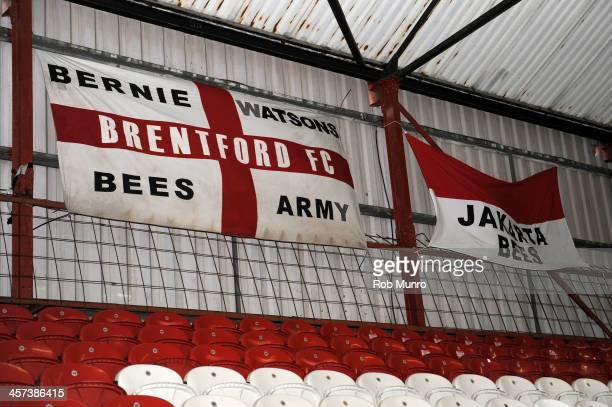 General view of supporters' flags during the Sky Bet League One match between Brentford and Oldham Athletic at Griffin Park on December 14 2013 in...