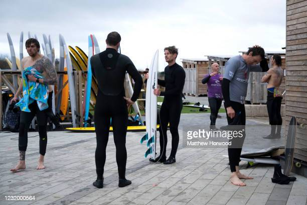 General view of surfers chatting at the Wave inland surfing centre on March 29, 2021 in Bristol, United Kingdom. Today the government eased its rules...
