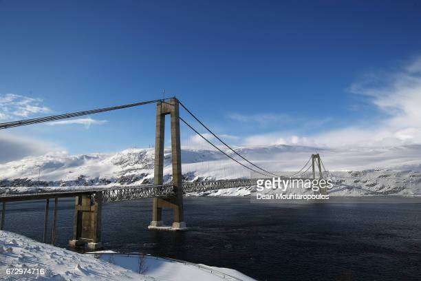 A general view of suspension bridge The Kvalsund or Kvalsundbrua in Norwegian in Kvalsund Municipality which crosses the Kvalsundet strait between...