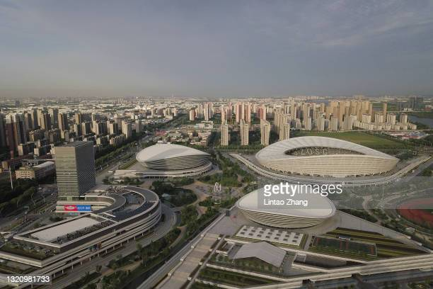 General view of Suzhou Olympic Sports Center Stadium during the 2022 FIFA World Cup Asian Qualifiers Group A event on May 31, 2021 in Suzhou, China.